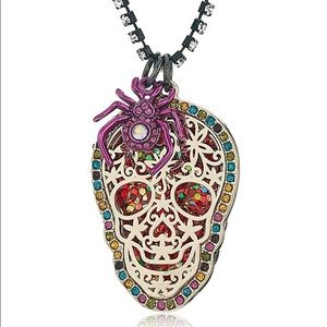 NWT•Betsey SugarSkull/spider rhinestone necklace